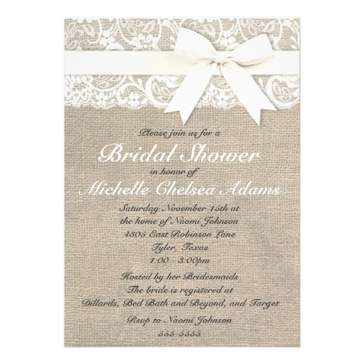 White Vintage Lace Burlap Bridal Shower Invitation