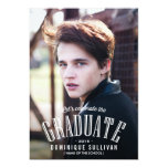 White Vintage Typography Photo Graduation 13 Cm X 18 Cm Invitation Card