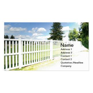white vinyl fence business card