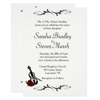 "White Violin Music Wedding Invitation  5"" x 7"""
