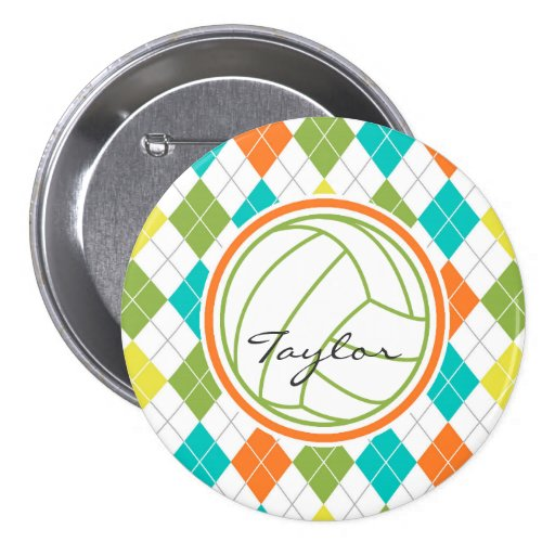 White Volleyball on Colorful Argyle Pattern Pinback Button