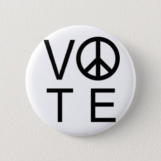 White Vote Peace Sign Button SALE