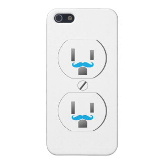 White Wall Outlet w/Blue Mustache Design iPhone 5 iPhone 5 Cases