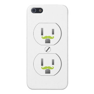 White Wall Outlet w/Green Mustache Design iPhone 5 iPhone 5/5S Cover