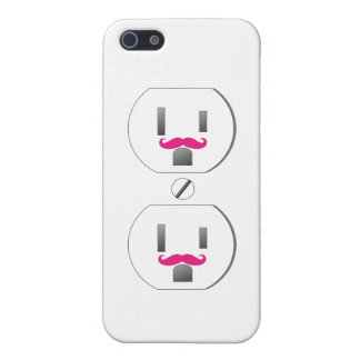 White Wall Outlet w/Pink Mustache Design iPhone 5 iPhone 5 Case