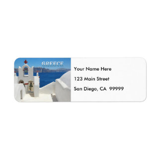 White Washed Church Blue Sky and Sea in Santorini Return Address Label