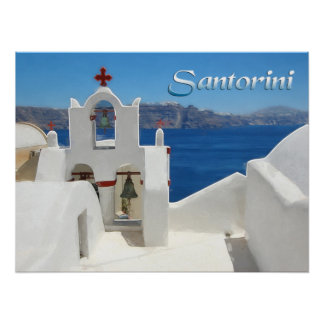 White Washed Church Blue SkY & Sea TEXT Santorini Poster