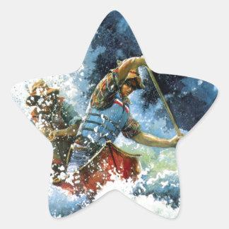 White Water Canoe Star Sticker