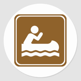 White Water Canoeing  Highway Sign Classic Round Sticker