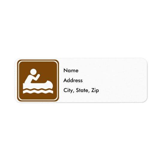 White Water Canoeing Highway Sign Return Address Label