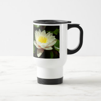 White Water Lily Flower Stainless Steel Travel Mug