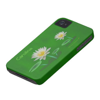 White Water Lily Flowers on Green Custom Name Skin iPhone 4 Case-Mate Cases