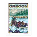 White Water Rafting- Vintage Travel Poster Post Card
