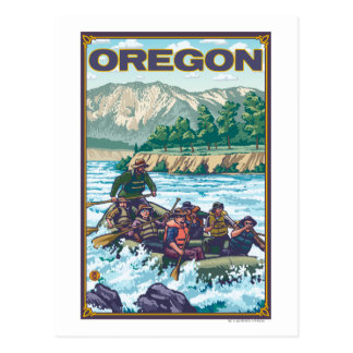 White Water Rafting- Vintage Travel Poster Postcard