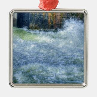 White Water Rushing River Nature Scene Silver-Colored Square Decoration