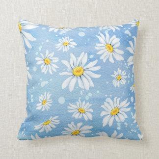 White Watercolor Daisies Cushion