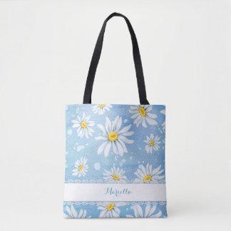 White Watercolor Daisies Tote Bag