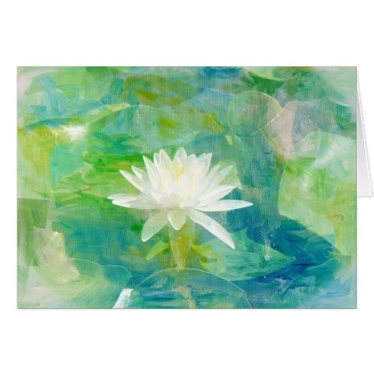 White Waterlily Blossom Card