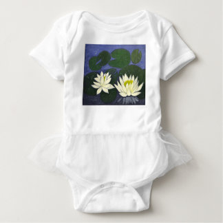 White Waterlily Flowers, Acrylic painting Baby Bodysuit