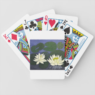 White Waterlily Flowers, Acrylic painting Bicycle Playing Cards