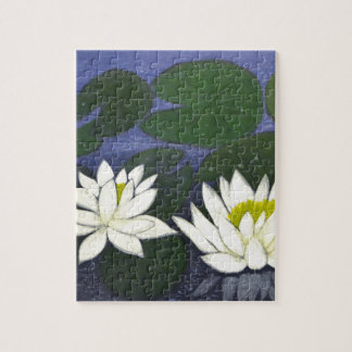 White Waterlily Flowers, Acrylic painting Jigsaw Puzzle