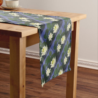 White Waterlily Flowers, Acrylic painting Short Table Runner