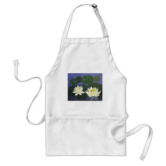 White Waterlily Flowers, Acrylic painting Standard Apron