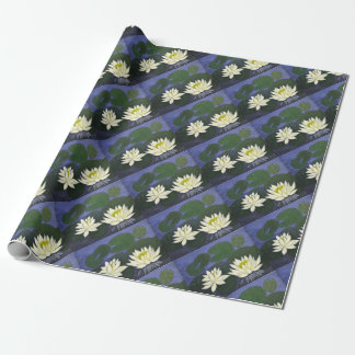 White Waterlily Flowers, Acrylic painting Wrapping Paper