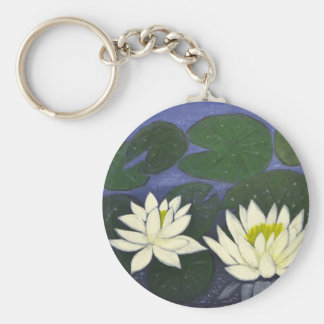 White Waterlily Flowers in a Pond. Key Ring