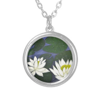White Waterlily Flowers in a Pond. Silver Plated Necklace