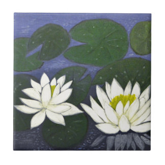White Waterlily Flowers in a Pond. Tile