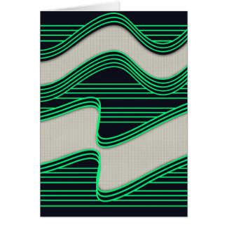 White Wave Fabric Green Neon lines Image Print Card