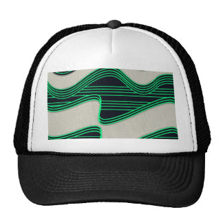 White Wave Fabric Green Neon lines Image Print Trucker Hats
