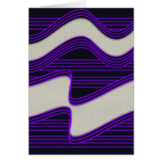 White Wave Fabric Purple Neon lines Image Print Card