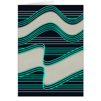 White Wave fabric Teal Neon lines Image Print Card