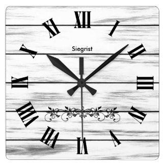 White Weathered Wood Style Clock