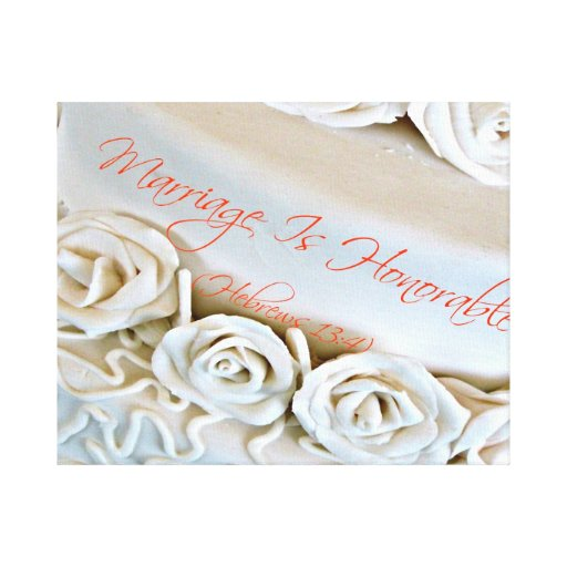 White wedding cake with Hebrews Bible verse Gallery Wrapped Canvas