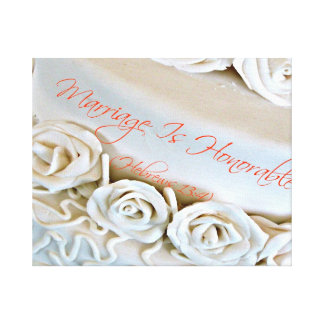 White wedding cake with Hebrews Bible verse Stretched Canvas Print
