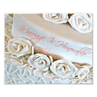 White wedding cake with Hebrews Bible verse Photo Art