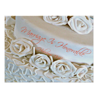 White wedding cake with Hebrews Bible verse Posters
