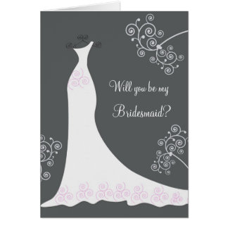 White Wedding dress on black Bridesmaid Request Card