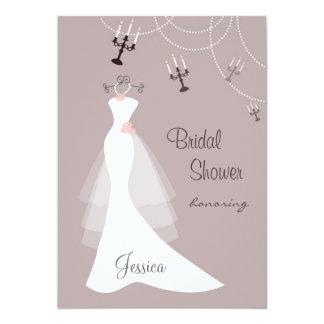 White wedding gown, Candelabra  Bridal Shower Card
