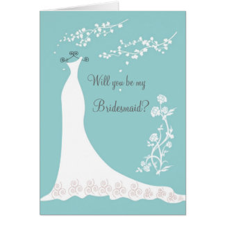 White Wedding gown on aquamarine Bridesmaid Invite Card