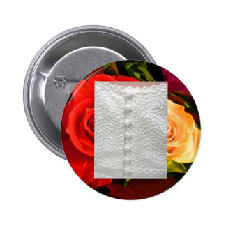 White Wedding Gown Red Yellow Roses Button Pin