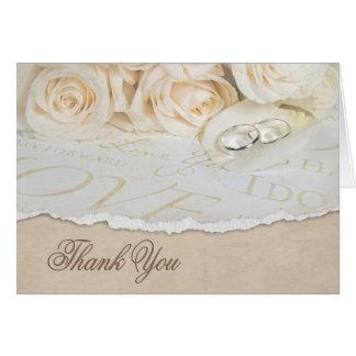 White wedding roses Thank You Card
