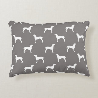 White Weimaraner Silhouettes On Grey Accent Cushion