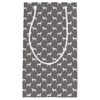 White Weimaraner Silhouettes On Grey Small Gift Bag