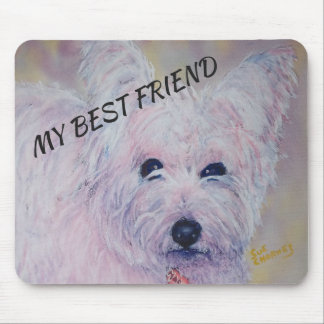WHITE WEST HIGHLAND TERRIER MOUSE PAD