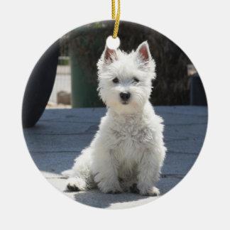 White West Highland Terrier Sitting on Sidewalk Ceramic Ornament