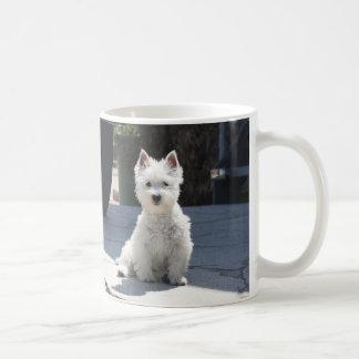 White West Highland Terrier Sitting on Sidewalk Coffee Mug